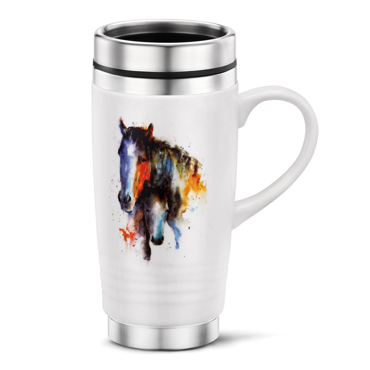 Watercolor Horse & Foal Travel Mug