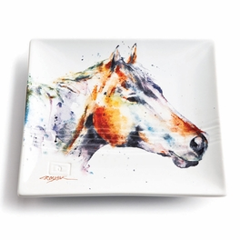 Watercolor Horse Profile Snack Plate