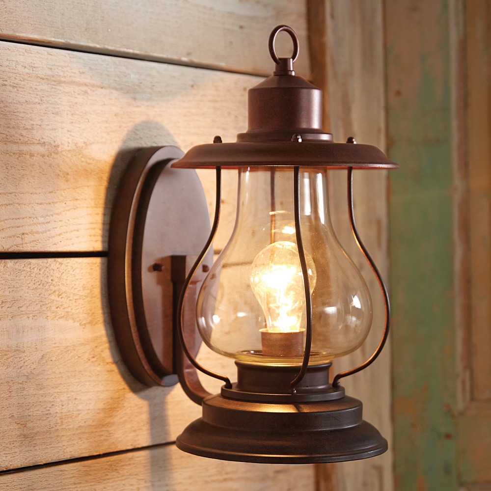 Weathered Patina Lantern Wall Sconce - 10 Inch