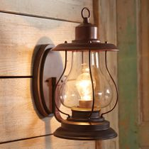 Weathered Patina Lantern Wall Sconce - 6 Inch