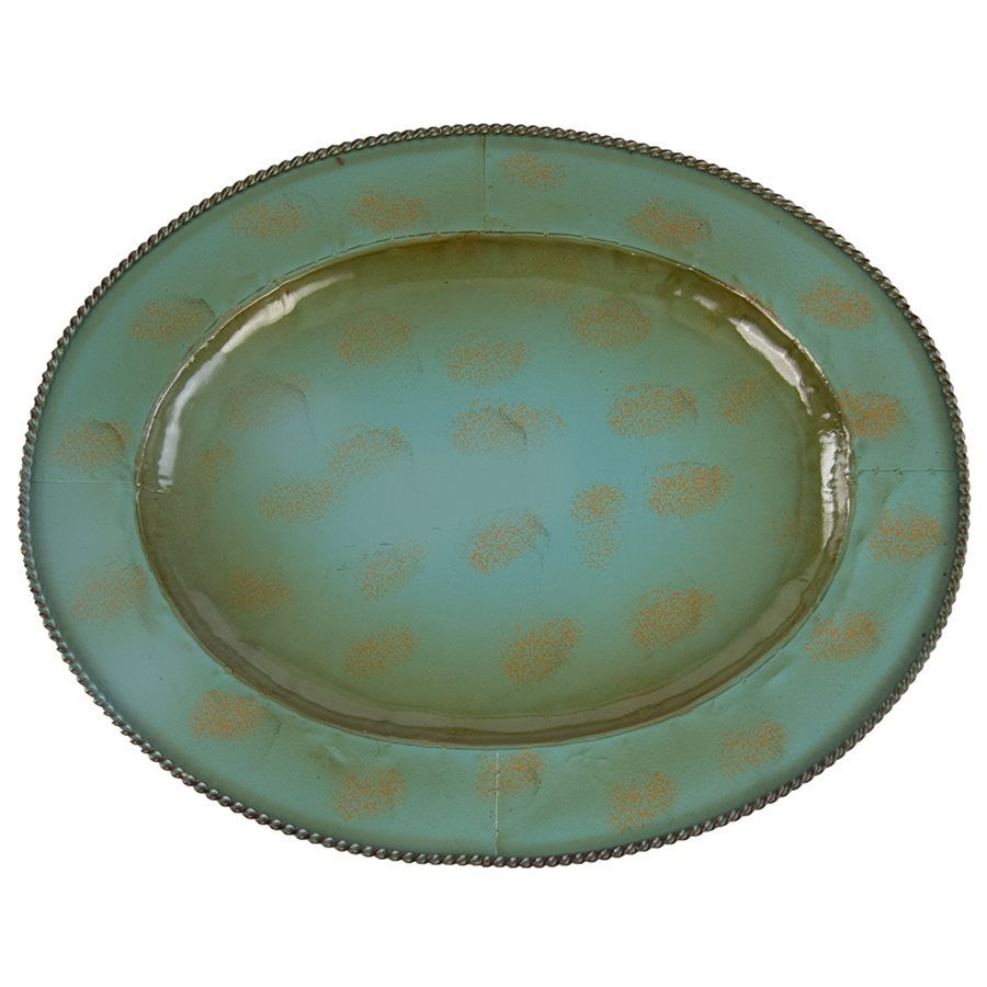 Weathered Turquoise Large Iron Platters - Set of 4