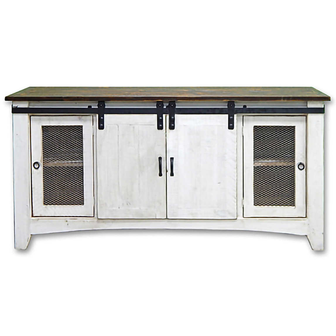 Weathered White Screen Door TV Stand