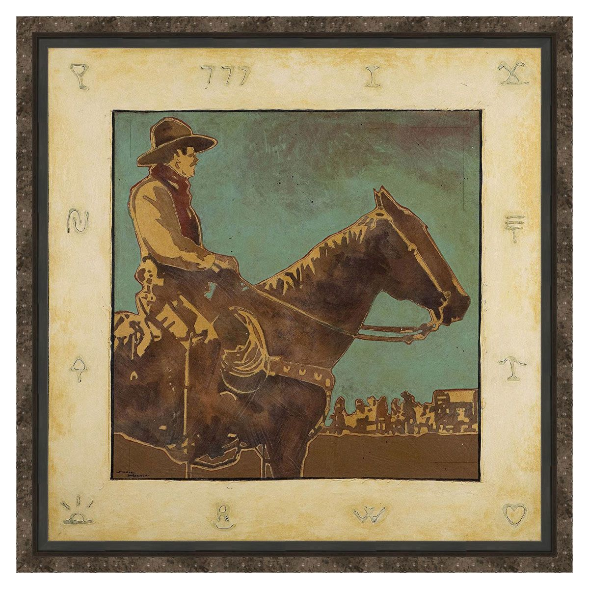 Western Cowboy Pride Framed Canvas
