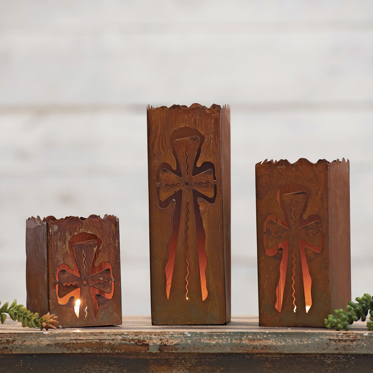 Western Cross Metal Luminaries - Set of 3