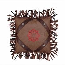 Red Embroidered Fringed Pillow