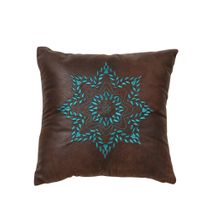 Turquoise Medallion Embroidered Pillow