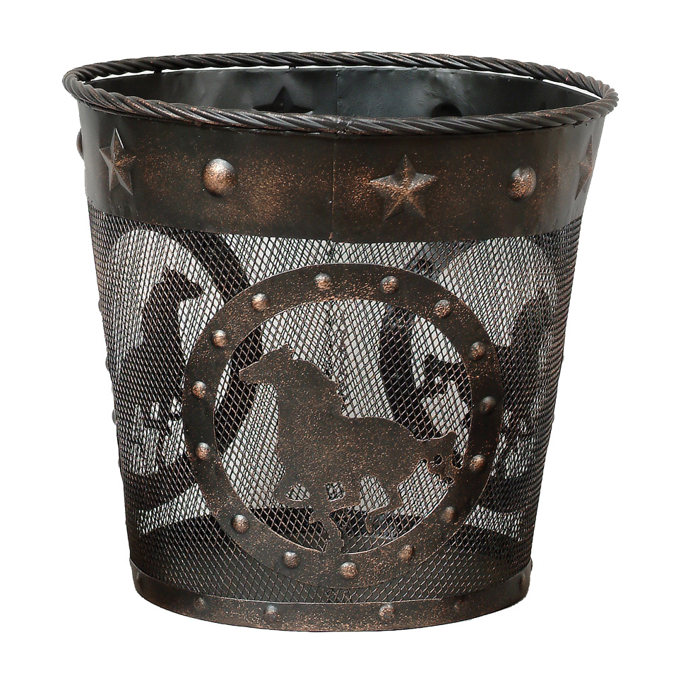 Western Horse Metal Waste Basket