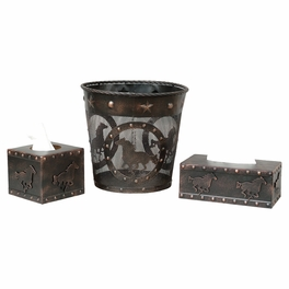 Western Horse Metal Waste Basket and Tissue Boxes