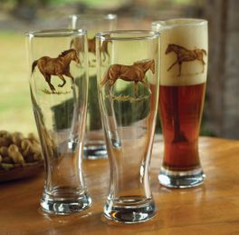 Western Horse Pilsner Glass Set - Set of 4