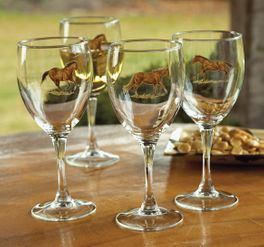 Western Horse Wine Glass Set - Set of 4
