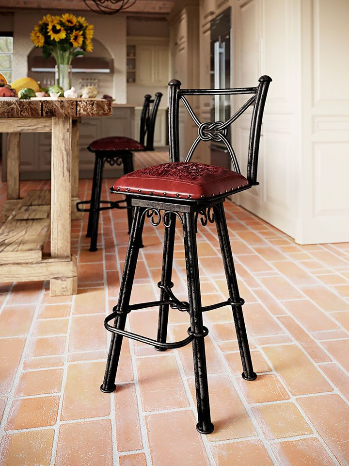 Western Iron Antique Red Counter Stool with Back - Bear - Set of 2