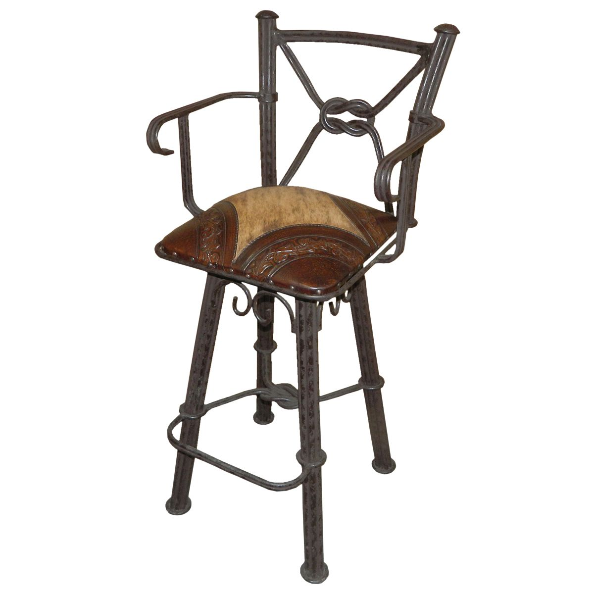 Western Iron Barstool with Arm - Hair on Hide