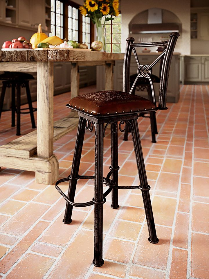 Western iron Barstool with Back - Colonial Antique Brown