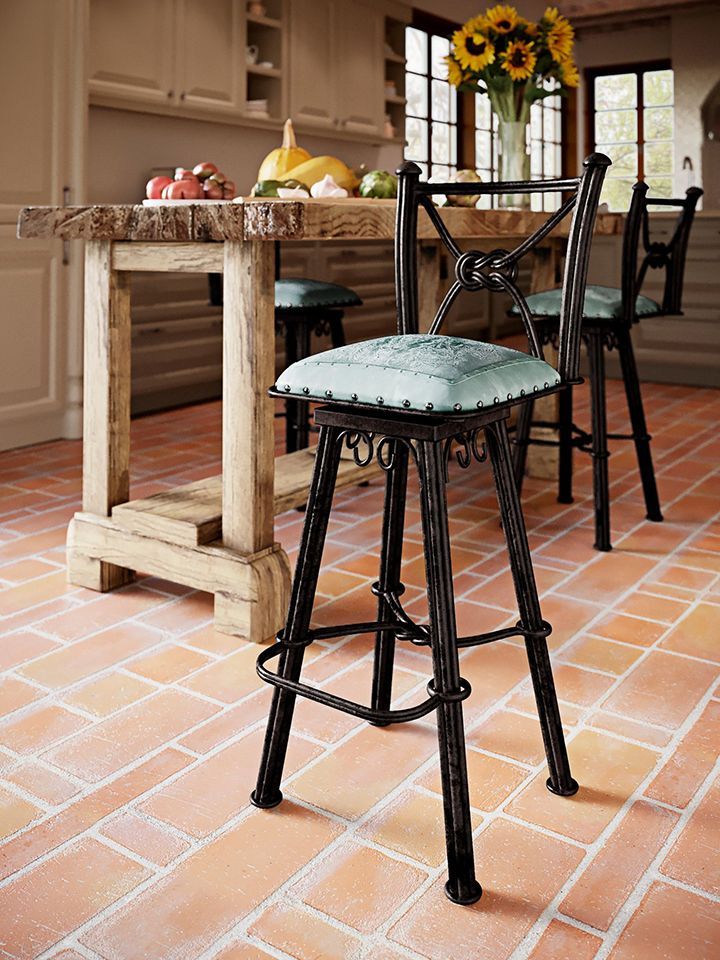Western Iron Barstool with Back & Swivel - Colonial Turquoise