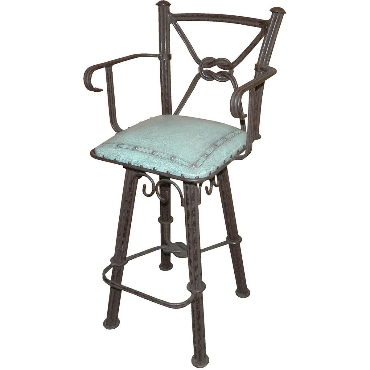 Western Iron Barstool with Back & Swivel - Turquoise