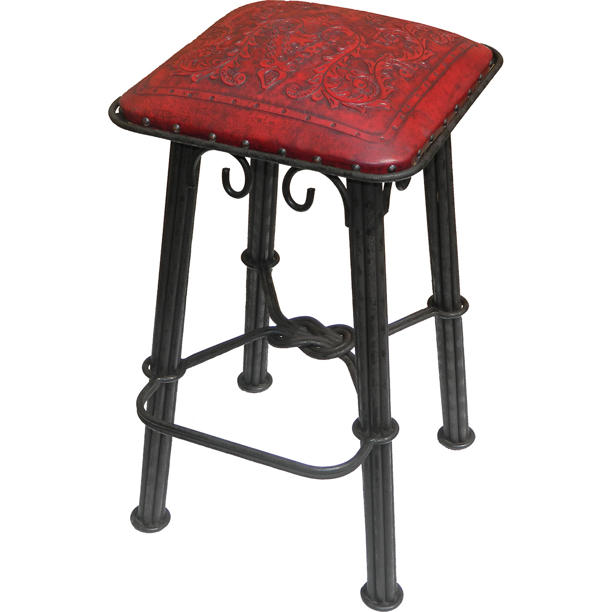 Western Iron Counter Stool - Colonial Red