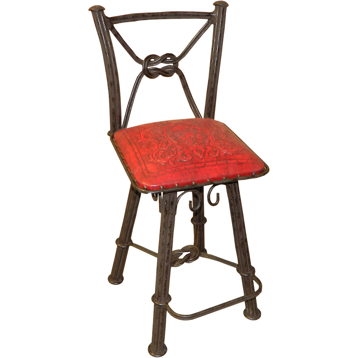 Western Iron Counter Stool with Back & Swivel - Colonial Red