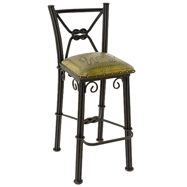 Western Iron Mustard Barstool with Back - Bronco - Set of 2
