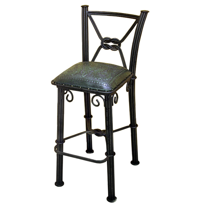 Western Iron Sage Green Counter Stool with Back - Colonial - Set of 2