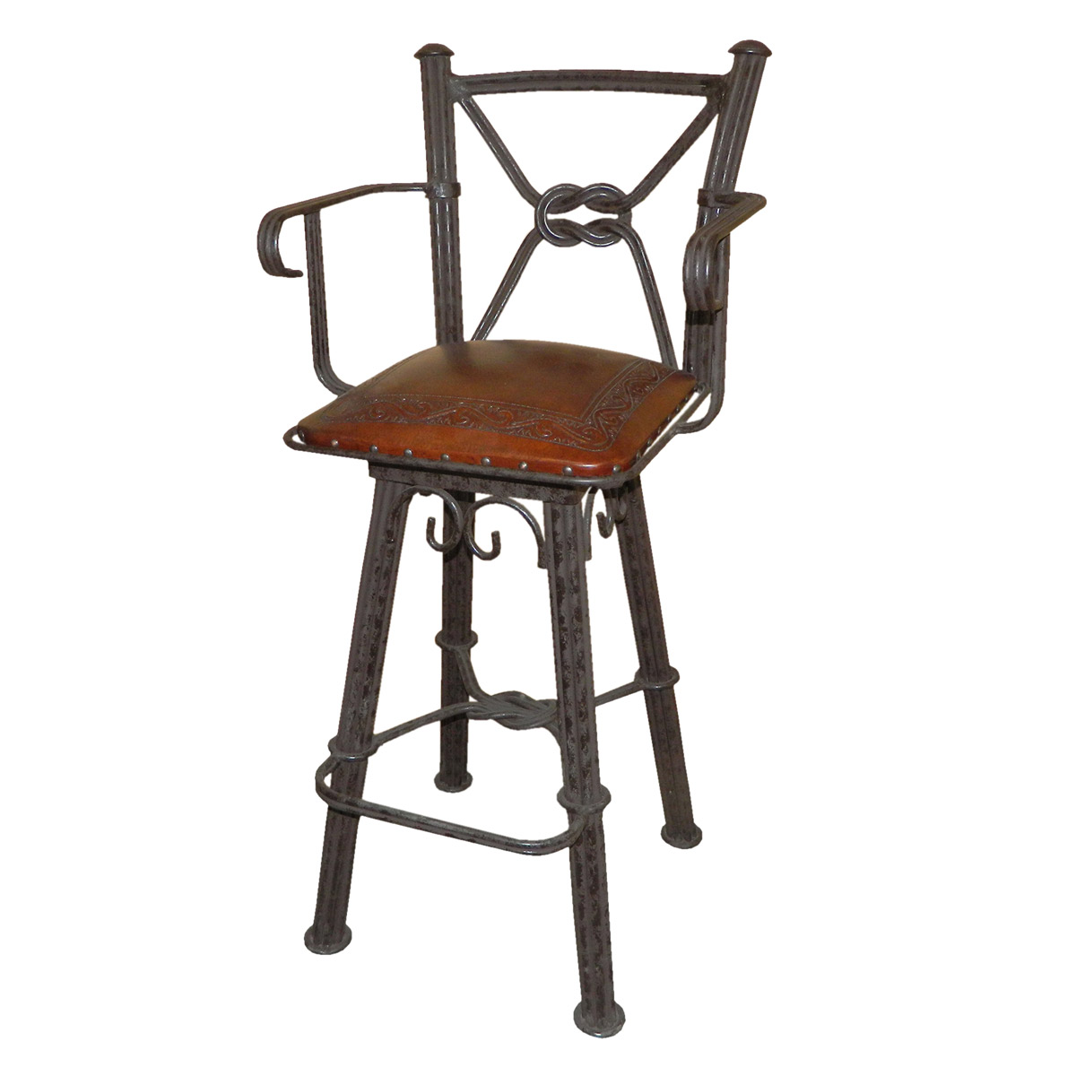 Western Iron Swivel Barstool with Arms and Classico Tooled Leather Seat