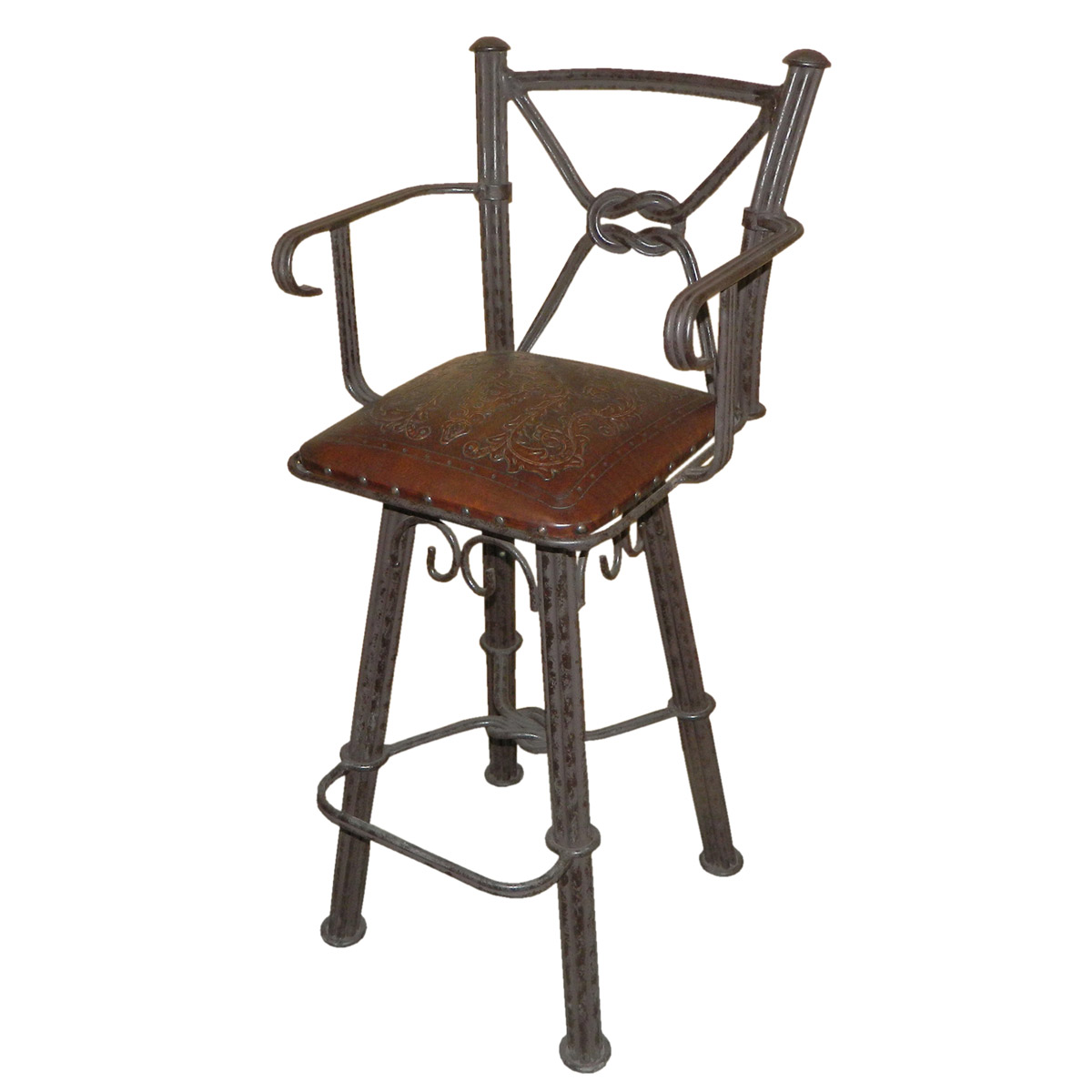 Western Iron Swivel Barstool with Arms and Colonial Tooled Leather Seat