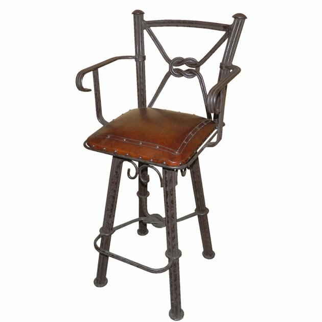 Western Iron Swivel Barstool With Arms And Leather Seat