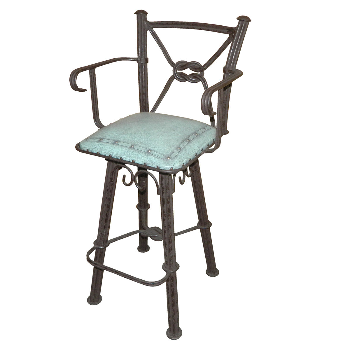 Western Iron Swivel Barstool With Arms And Turquoise Leather Seat