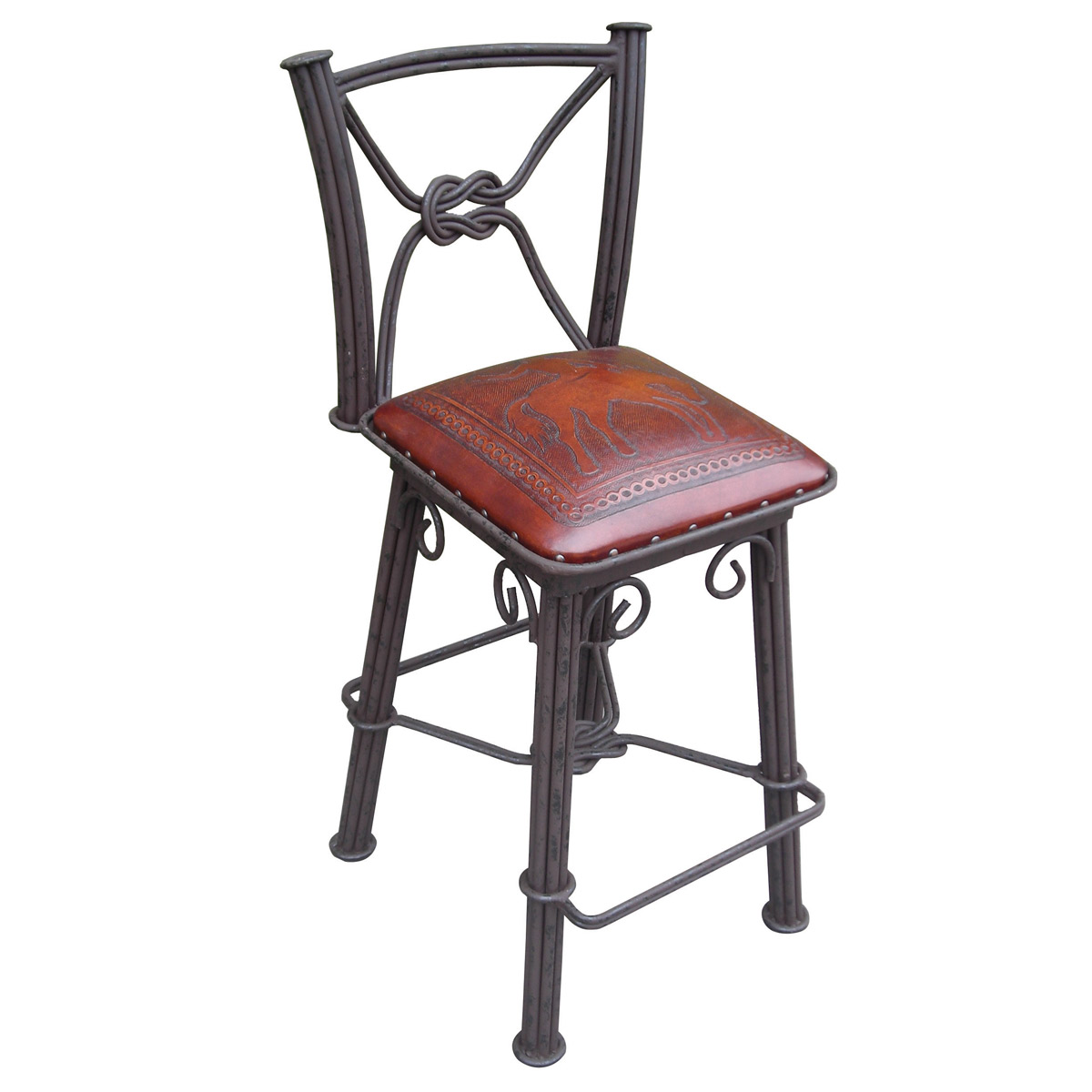 Western Iron Swivel Barstool with Bronco Tooled Leather Seat