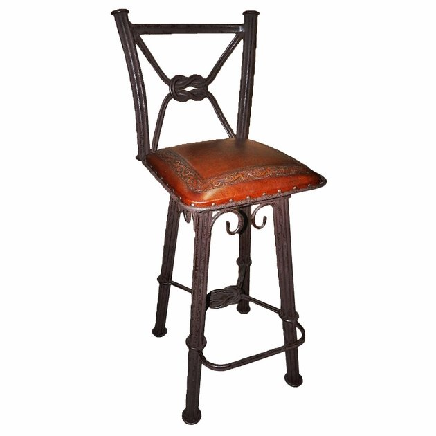 Western Iron Swivel Barstool With Classico Tooled Leather Seat