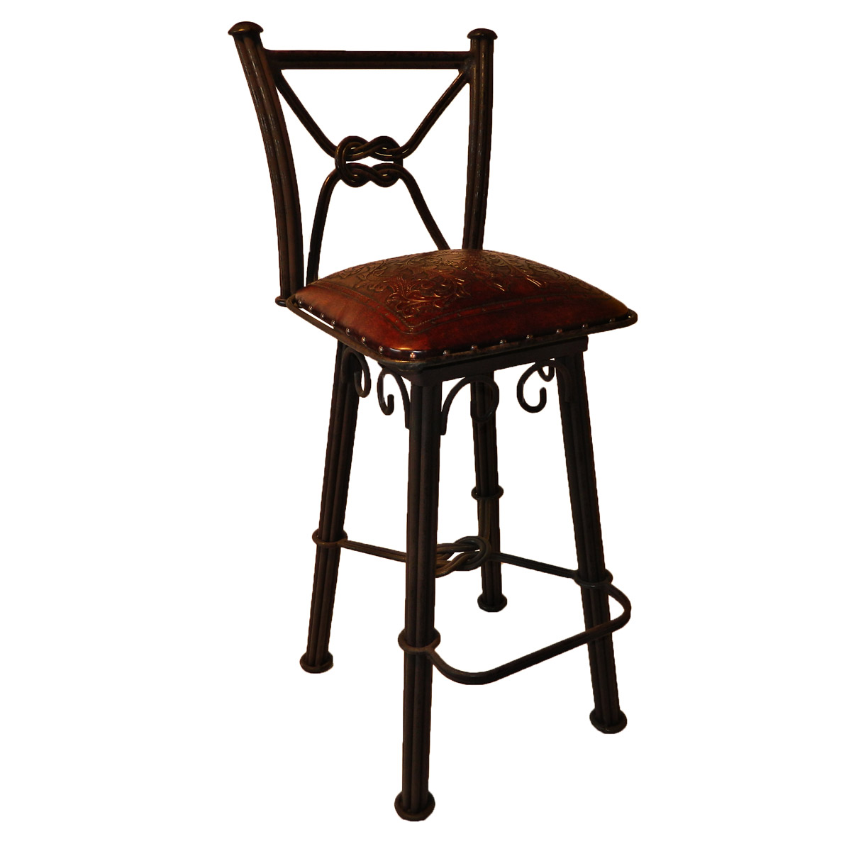 Western Iron Swivel Barstool with Colonial Tooled Leather Seat