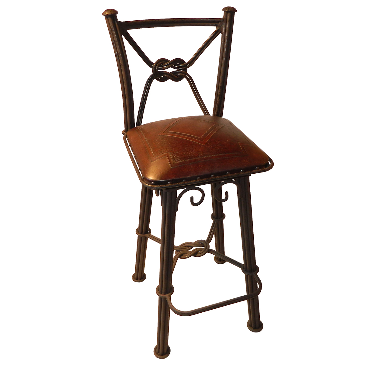 Western Iron Swivel Barstool with Diamond Tooled Leather Seat