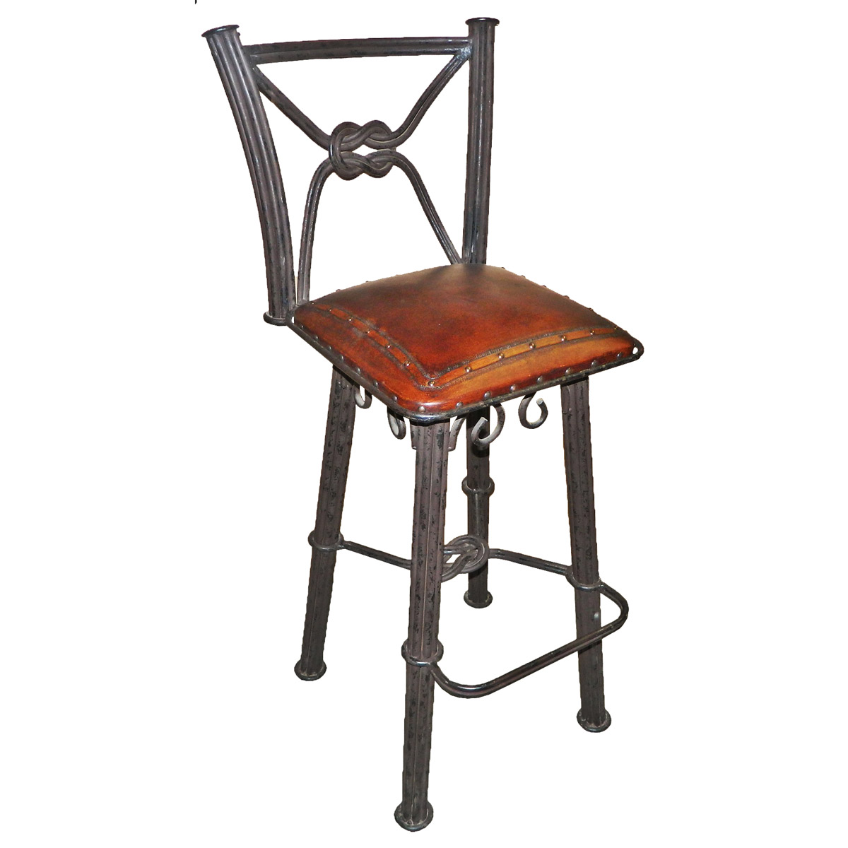 Western Iron Swivel Barstool with Leather Seat