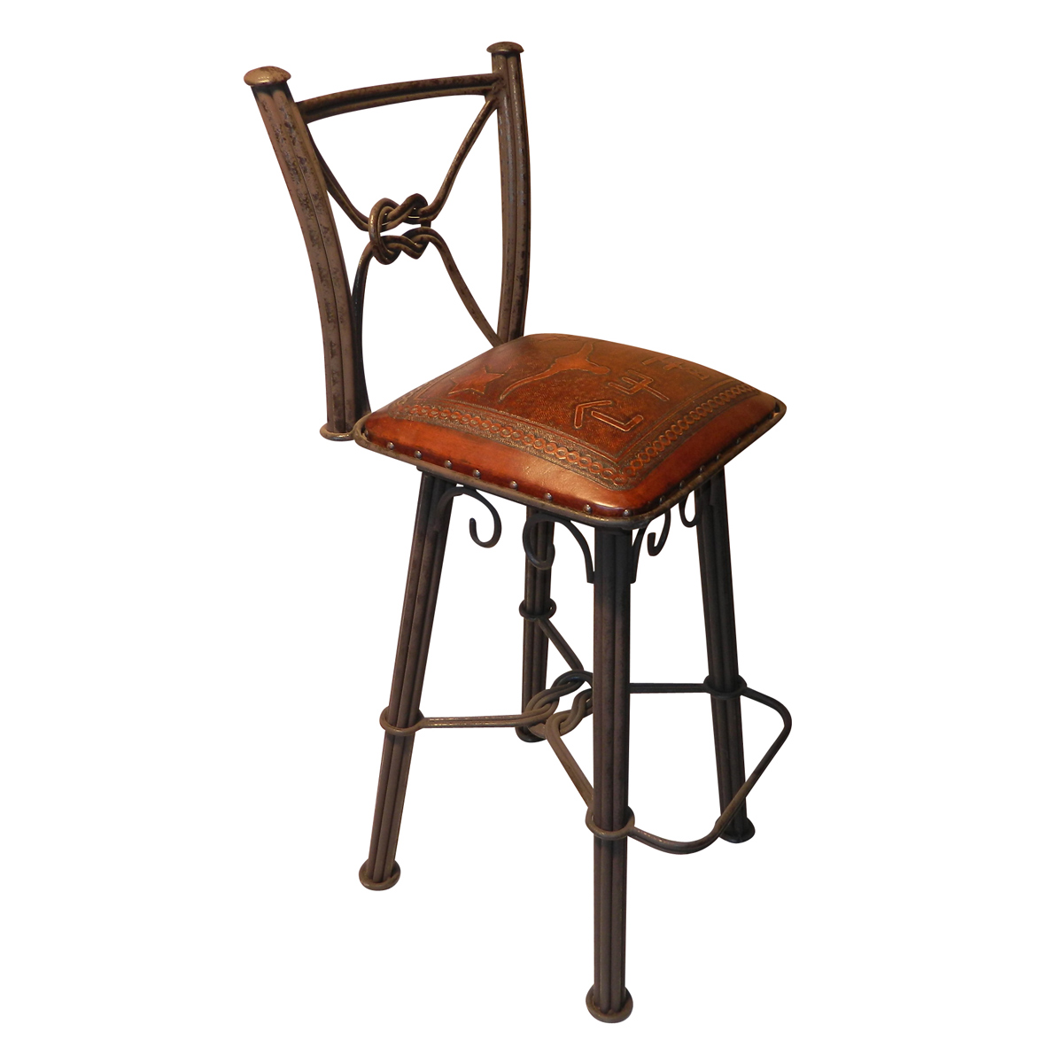 Western Iron Swivel Barstool with Steer Brand Tooled Leather Seat