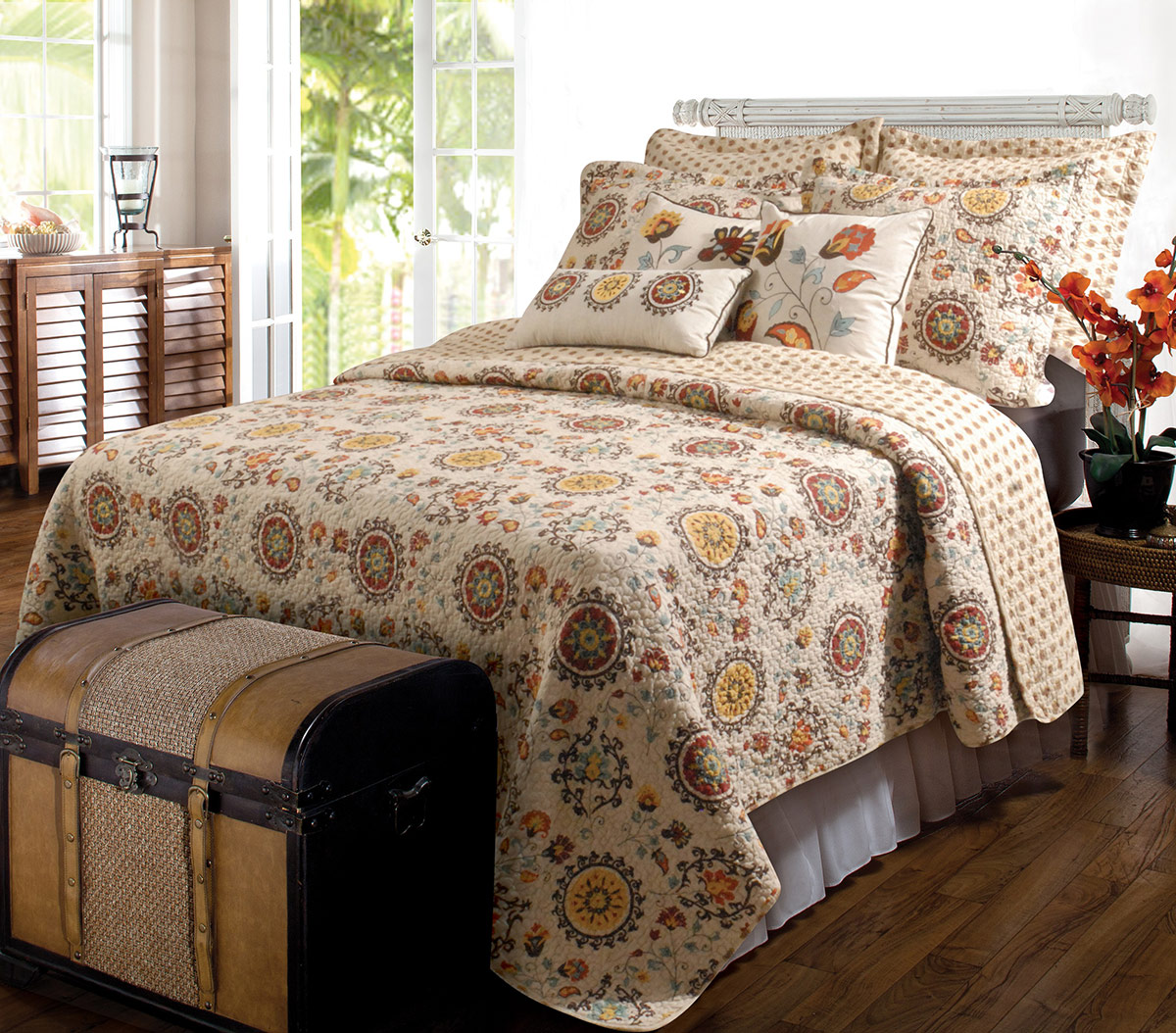 Western Medallions 3pc Quilt Set - King
