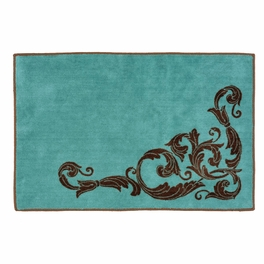 Western Scroll Turquoise Bath Rug