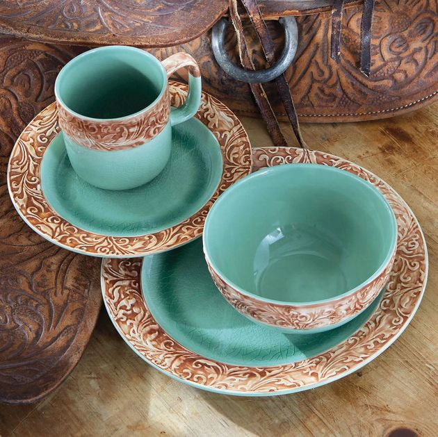 Rustic Dinnerware 16 Piece Western Scroll Turquoise