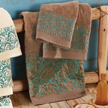Western Scroll Turquoise Towel Set - Brown