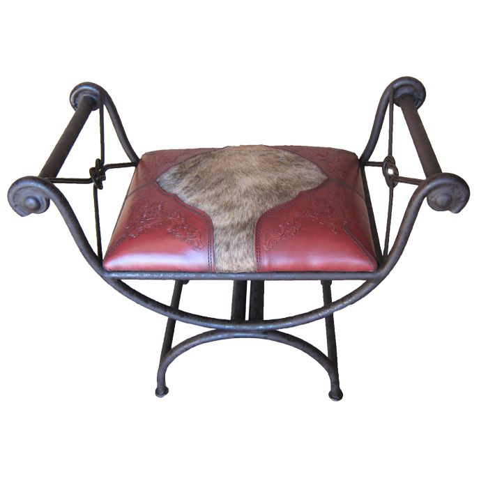 Western Single Vanity Bench with Hair on Hide - Red