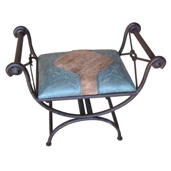 Western Single Vanity Bench with Hair on Hide - Turquoise