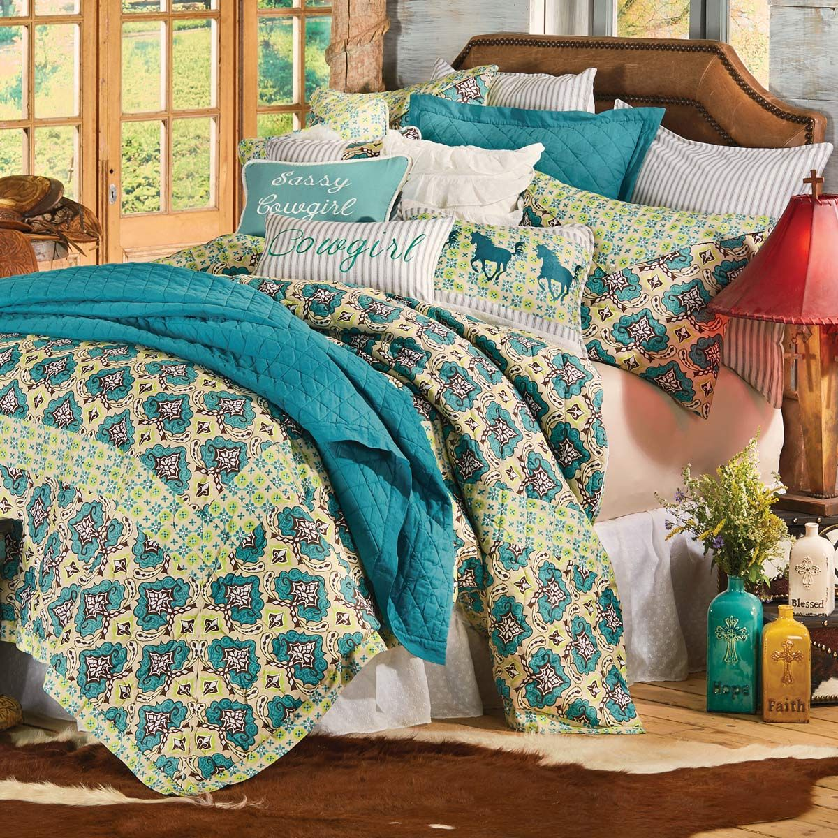 Western Spring Quilt Bed Set Full Queen