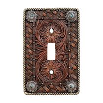 Western Tooled Leather Single Switch Plate