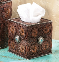 Western Tooled Leather Tissue Box