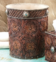 Western Tooled Leather Waste Basket - OUT OF STOCK UNTIL 12/15/2021