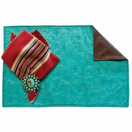 Western Turquoise Placemats with Saddle Back - Set of 4