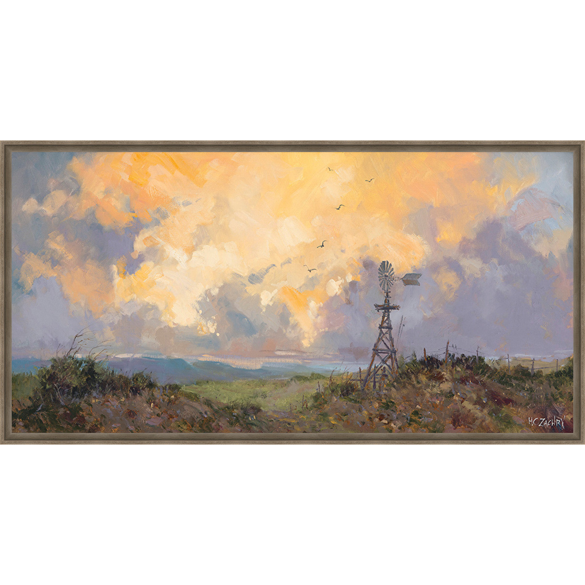 Western Windmill Framed Canvas