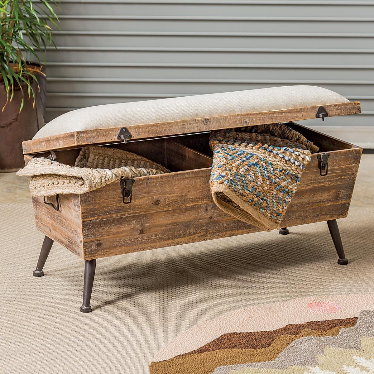 Western Wood Storage Bench