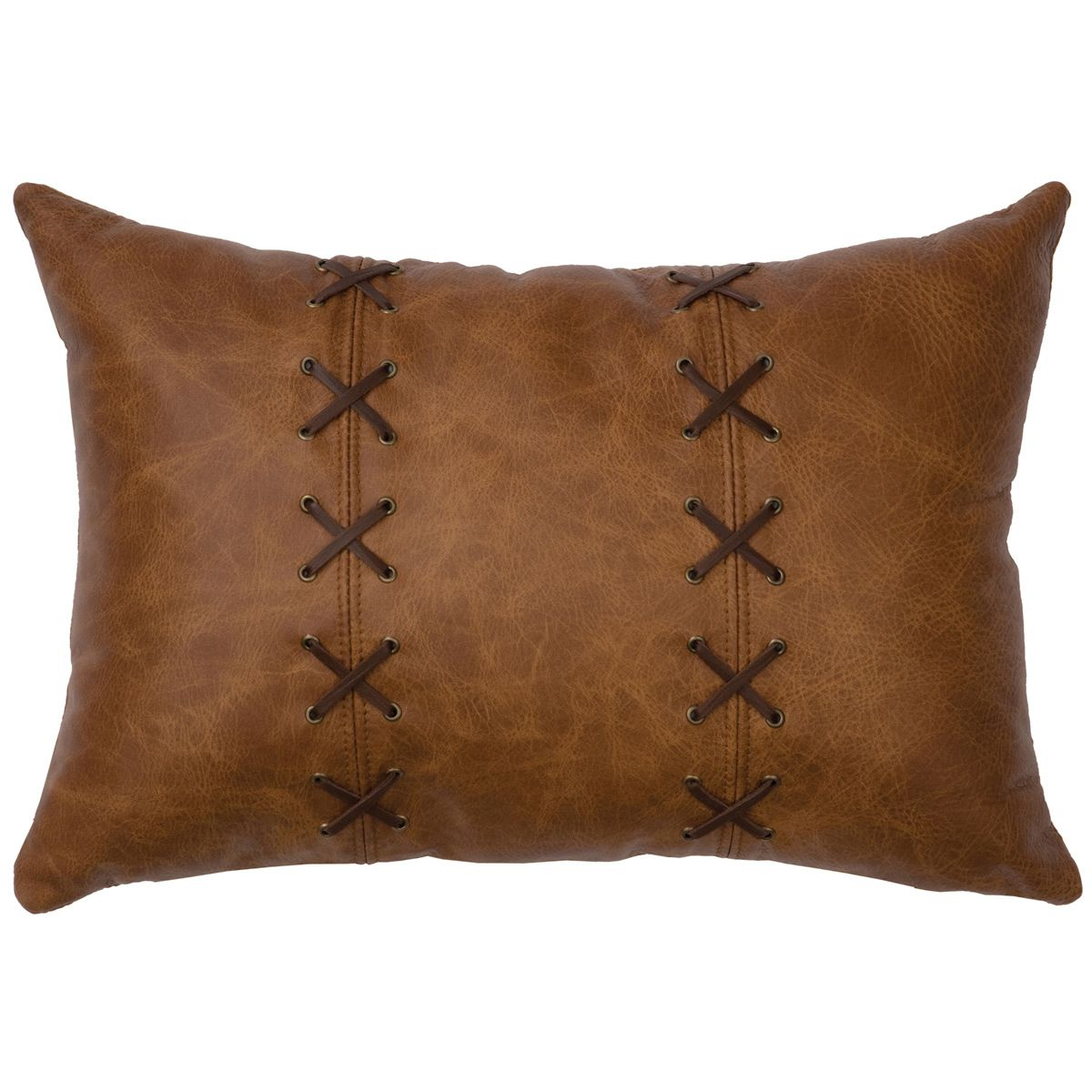 Whiskey Leather & Deerskin Lacing Pillow - Fabric Back