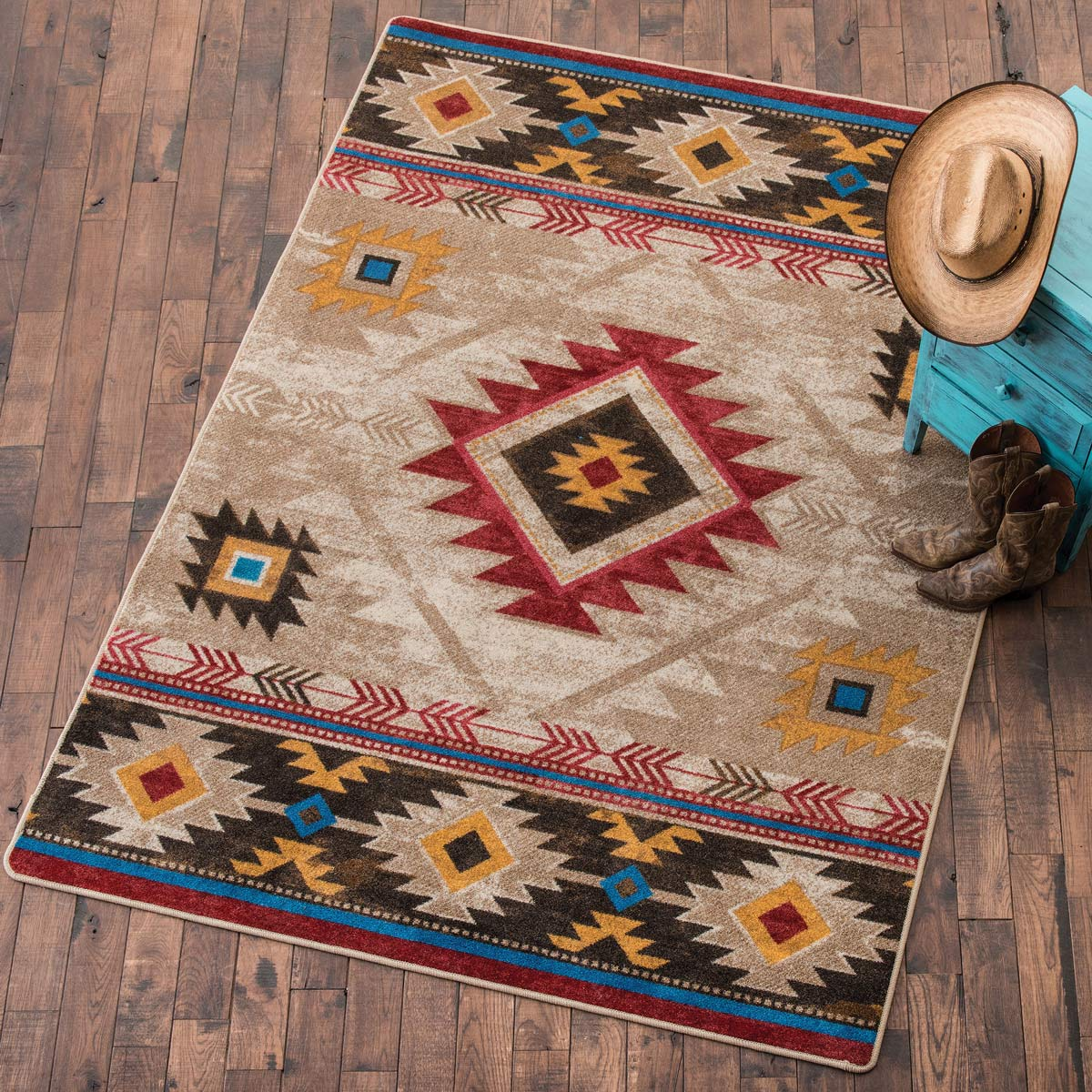 Southwest Rugs 4 X 5 Whiskey River Natural Ruglone Star Western Decor