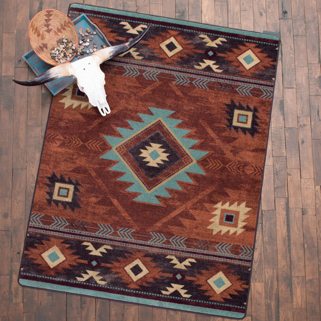 Whiskey River Rust Rug - 8 x 11