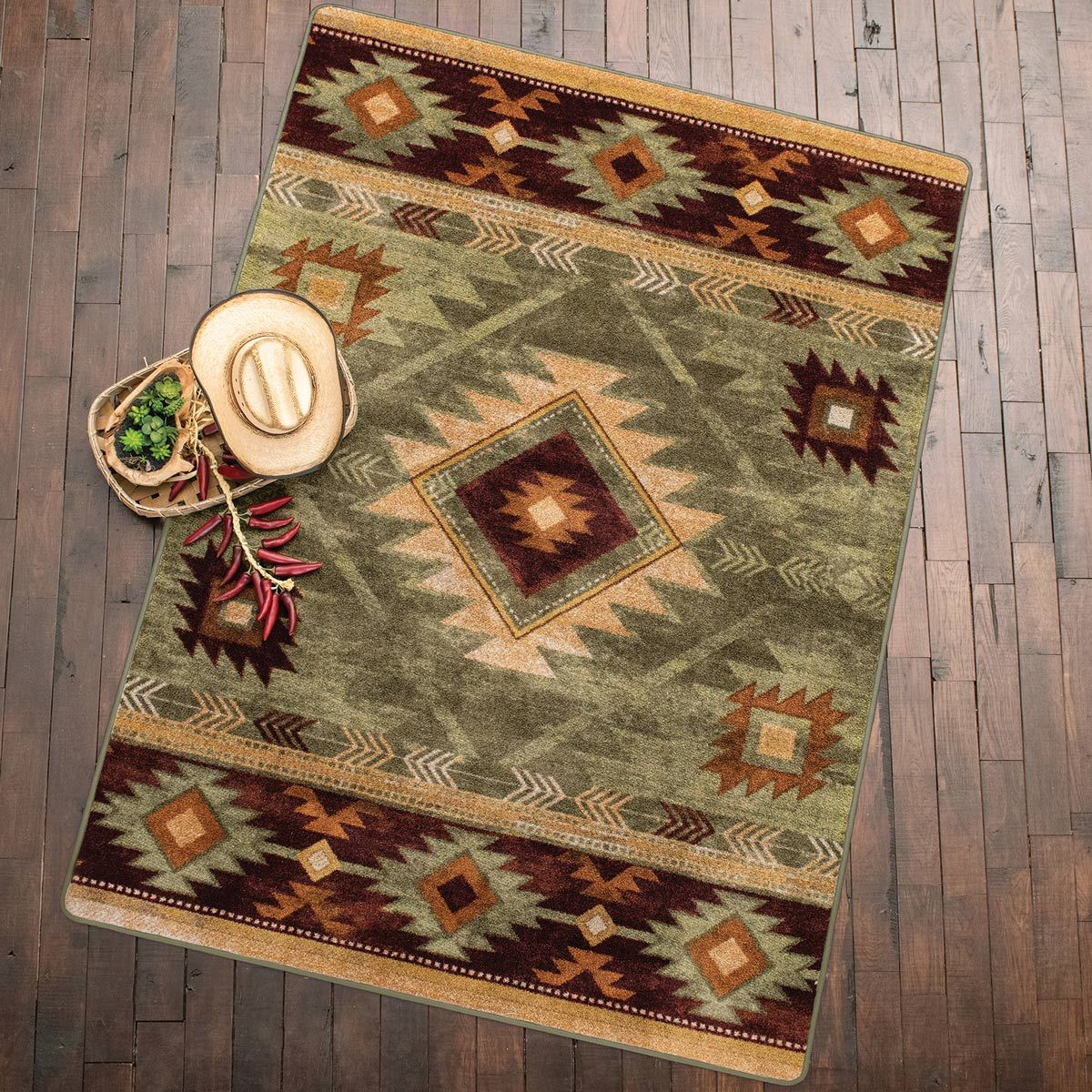 Whiskey River Sage Rug - 4 x 5